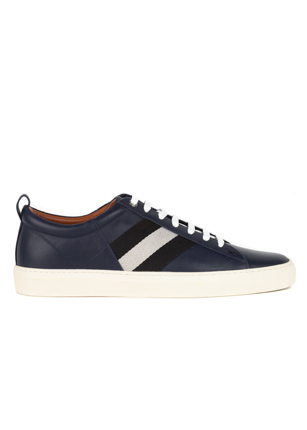 Bally Mens Navy Helvio Leather Sneakers - ACCESSX
