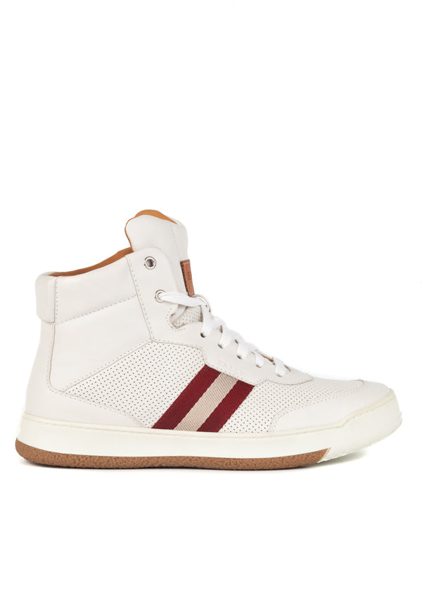 Bally Mens White Atilio Leather High-Top Sneakers - ACCESSX