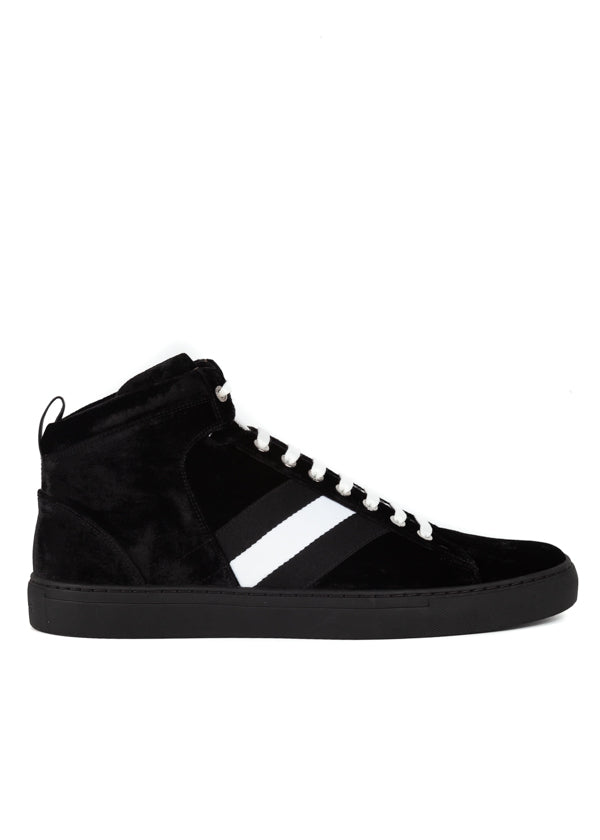 Bally Mens Black Hedern Velour High-Top Sneakers - ACCESSX