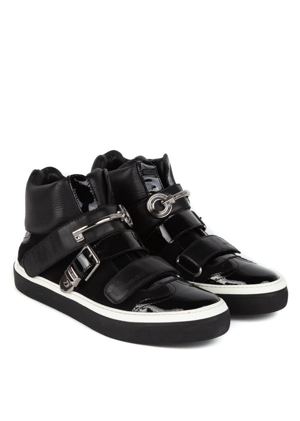 Jimmy Choo Mens Black Barclay Hi-Top Sneakers - ACCESSX
