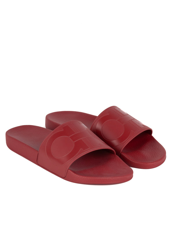 Salvatore Ferragamo Mens Red Groove Slides - Tribeca Fashion House