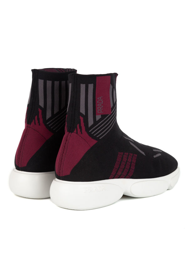 Prada Womens Red Cloudbust High-Top Sneakers - ACCESSX