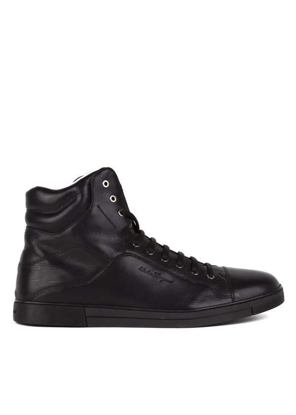 Salvatore Ferragamo Mens Black High-Top Sneakers - ACCESSX