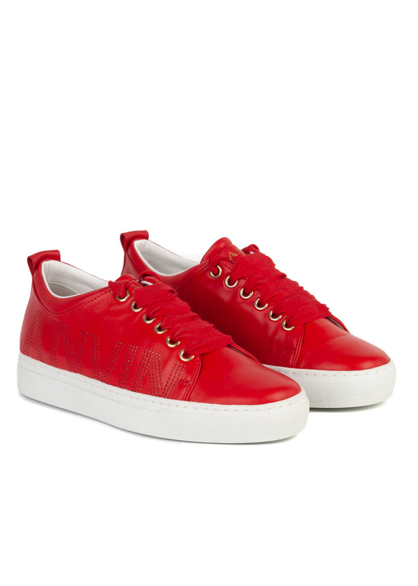 Lanvin Womens Red Lipstick Perforated Logo Low-Top Sneakers - ACCESSX