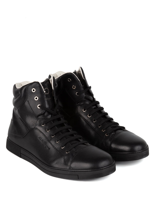 Salvatore Ferragamo Mens Black High-Top Sneakers - Tribeca Fashion House