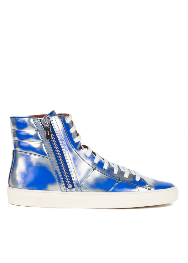 Bally Mens Blue Hensel Leather High-Top Sneakers - ACCESSX