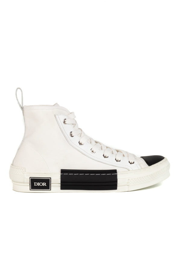 Dior Mens White B23 High-Top Sneakers - ACCESSX
