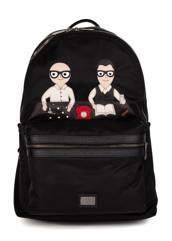 Dolce & Gabbana Mens Black Designer Patch Vulcano Backpack - ACCESSX