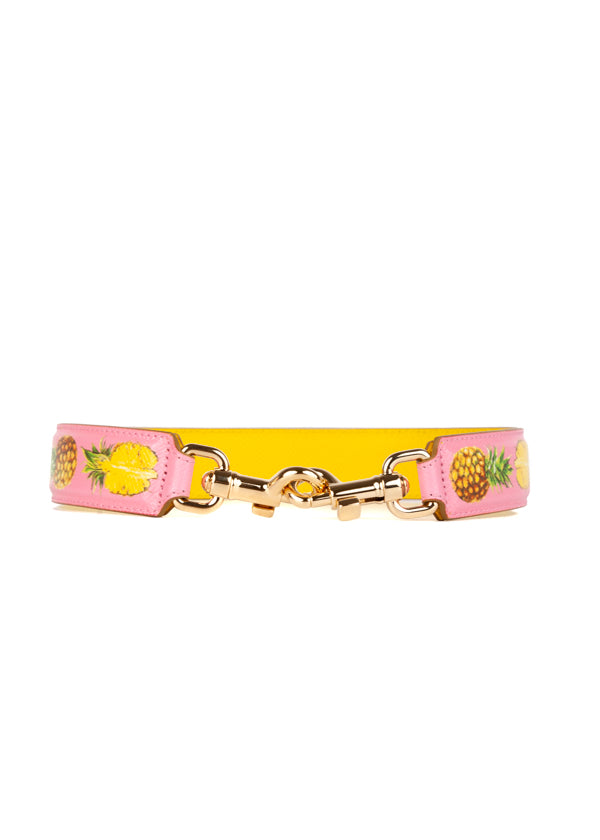 Dolce & Gabbana Womens Pink Pineapple Shoulder Strap - ACCESSX