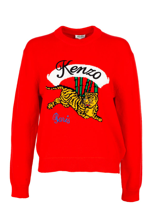 Kenzo Womens Red Jumping Tiger Jumper - Tribeca Fashion House