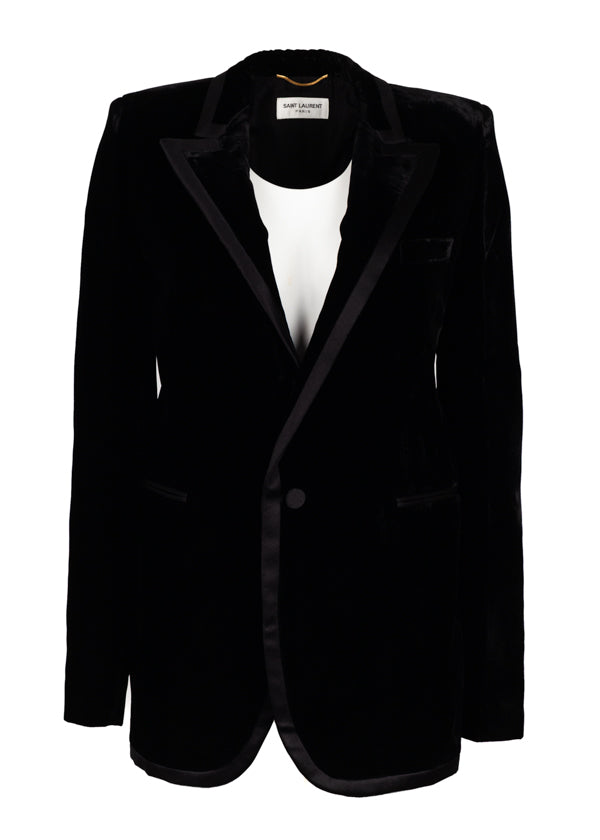 Saint Laurent Womens Black Satin Bias Velvet Jacket - ACCESSX