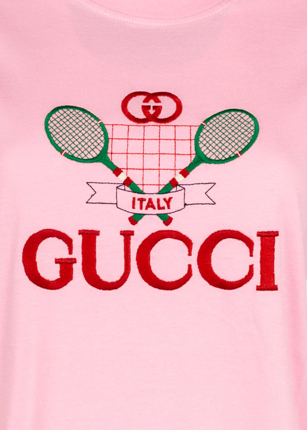 Gucci Womens Pink Tennis Embroidery T-Shirt - ACCESSX