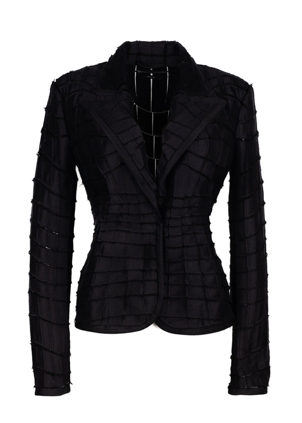 Tom Ford Womens Black Mikado Patchwork Cropped Jacket - ACCESSX