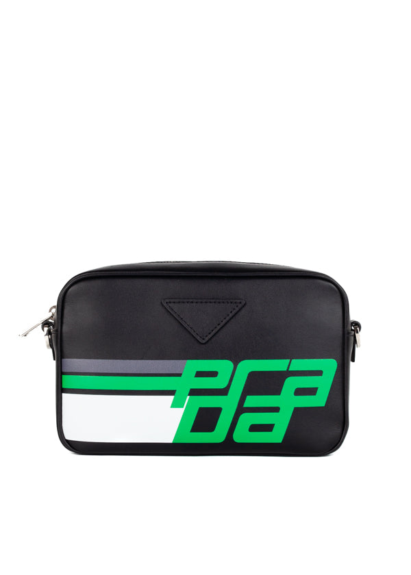 Prada Womens Black Logo Print Shoulder Bag - ACCESSX
