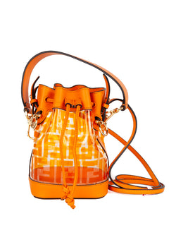 Fendi Womens Orange Mini Mon Bucket Bag - Tribeca Fashion House