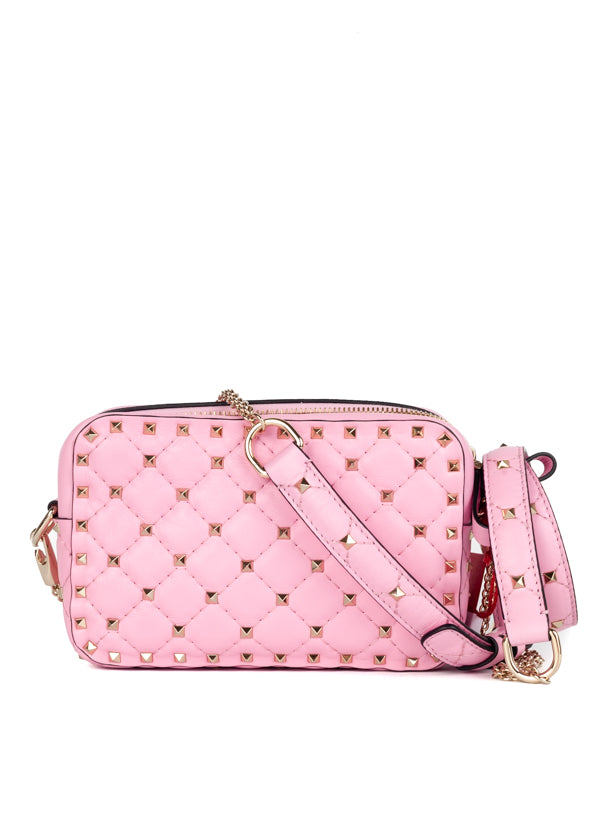 Valentino Womens Absolute Rose Garavani Rockstud Spike Crossbody Bag - ACCESSX