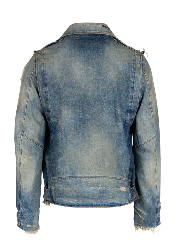 Balmain Mens Blue Distressed Denim Biker Jacket - ACCESSX