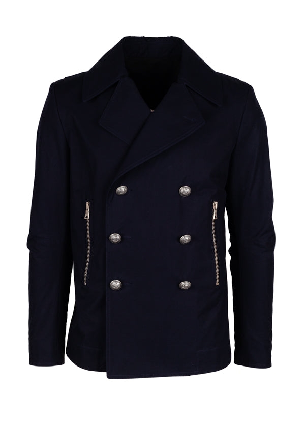 Balmain Mens Navy Cropped Double Breasted Coat - ACCESSX