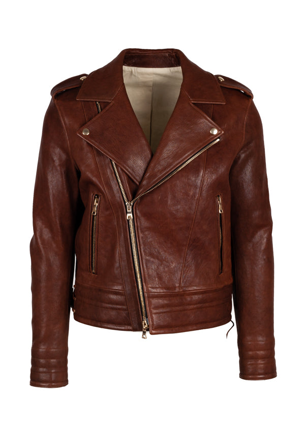 Balmain Mens Brown Leather Jacket - ACCESSX