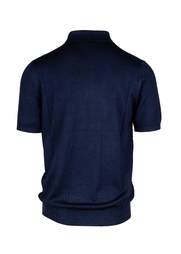 Salvatore Ferragamo Mens Indigo Gancini Logo Polo Shirt - Tribeca Fashion House