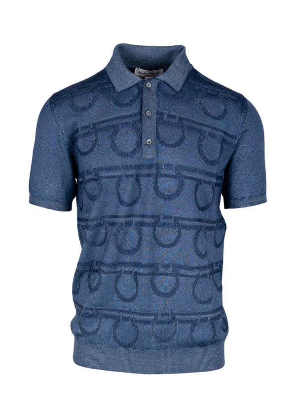 Salvatore Ferragamo Mens Blue Gancini Logo Polo Shirt - Tribeca Fashion House