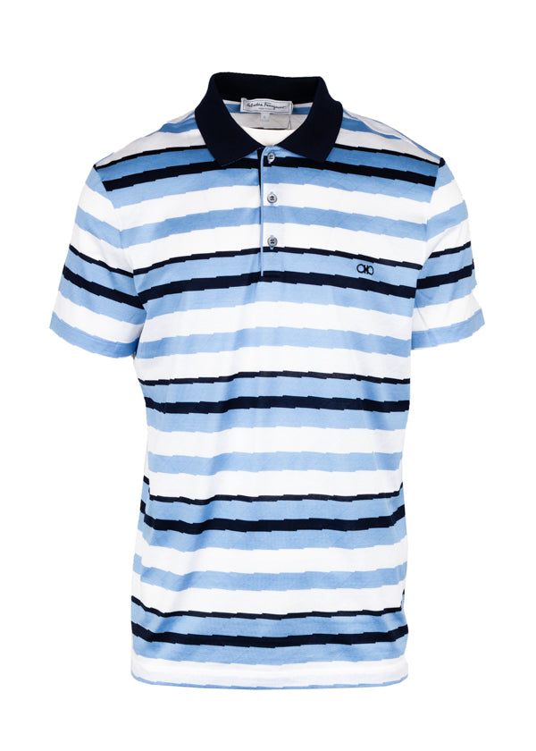 Salvatore Ferragamo Mens Striped Polo Shirt - Tribeca Fashion House