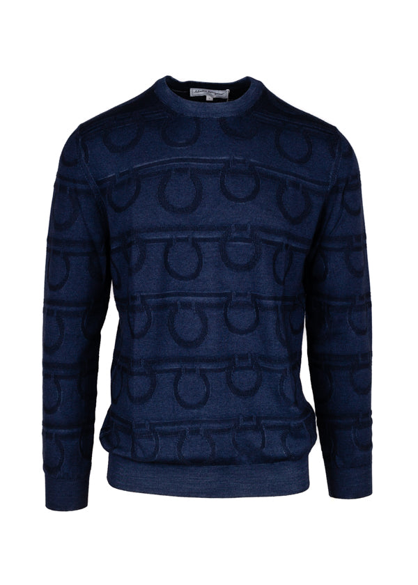 Salvatore Ferragamo Mens Indigo Gancini Logo Sweater - Tribeca Fashion House