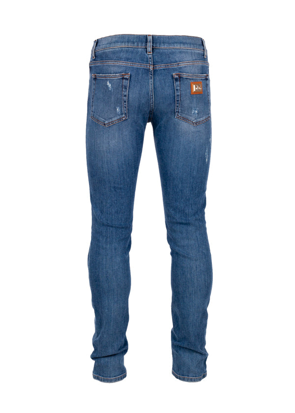 Dolce & Gabbana Mens Blue Distressed Classic Fit Jeans - ACCESSX