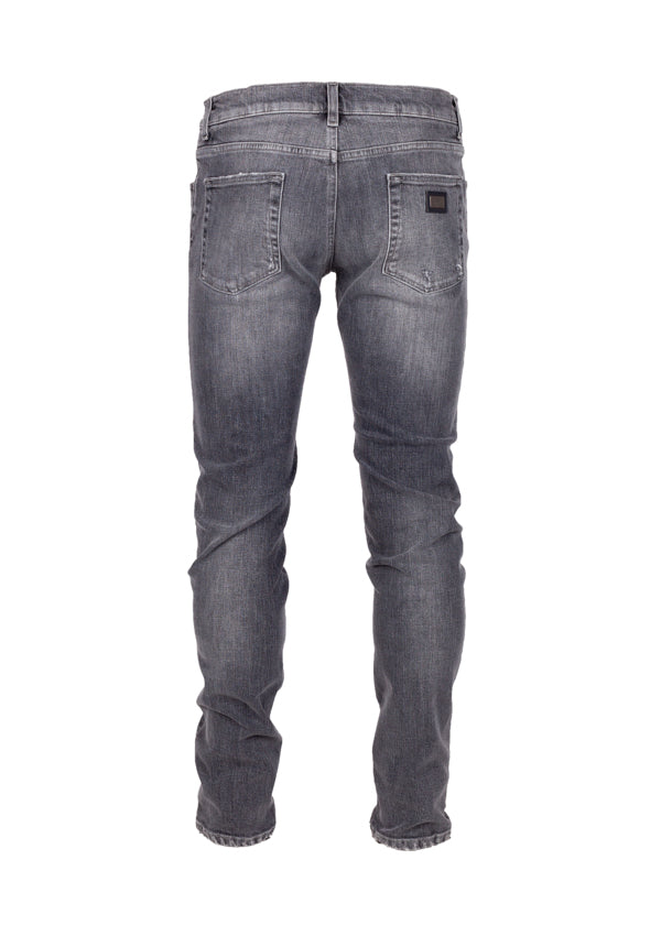 Dolce & Gabbana Mens Grey Distressed Classic Fit Jeans - Tribeca Fashion House