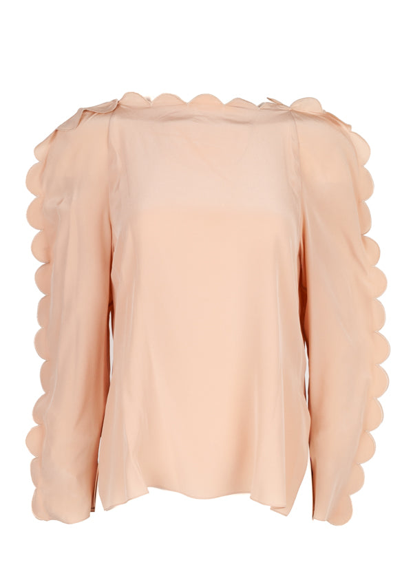 Fendi Womens Pink Scalloped Blouse - Tribeca Fashion House