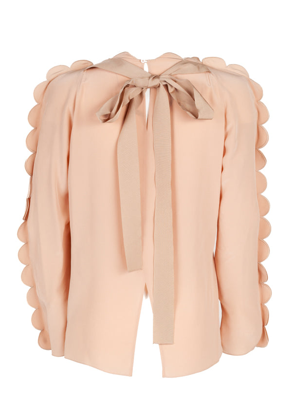 Fendi Womens Pink Scalloped Blouse - ACCESSX
