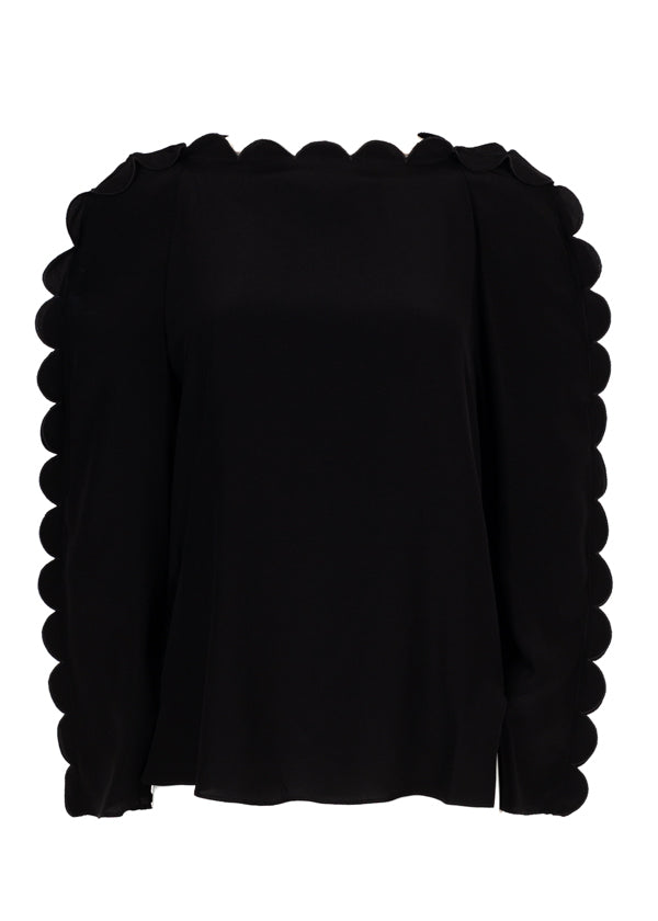 Fendi Womens Black Scalloped Blouse - ACCESSX