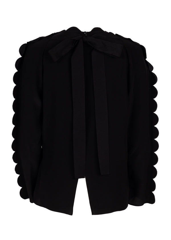 Fendi Womens Black Scalloped Blouse - Tribeca Fashion House