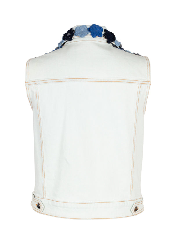 Fendi Womens Light Blue Floral Applique Vest - Tribeca Fashion House