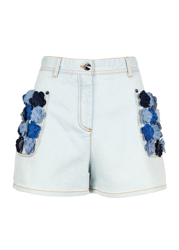 Fendi Womens Light Blue Floral Applique Shorts - Tribeca Fashion House