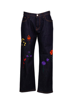 Fendi Womens Floral Embroidered Boyfriend Jeans - ACCESSX