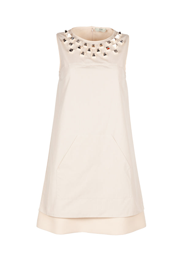 Fendi Womens Beige Studded Cocktail Dress - ACCESSX