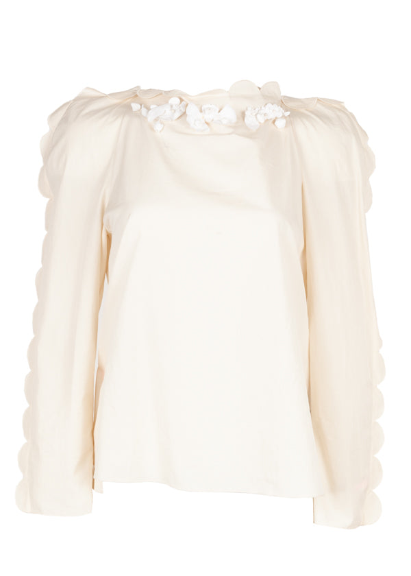 Fendi Womens Ivory Floral Scalloped Blouse - Tribeca Fashion House