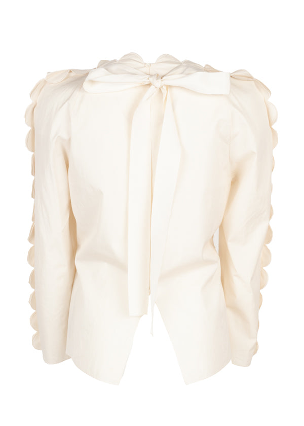 Fendi Womens Ivory Floral Scalloped Blouse - ACCESSX