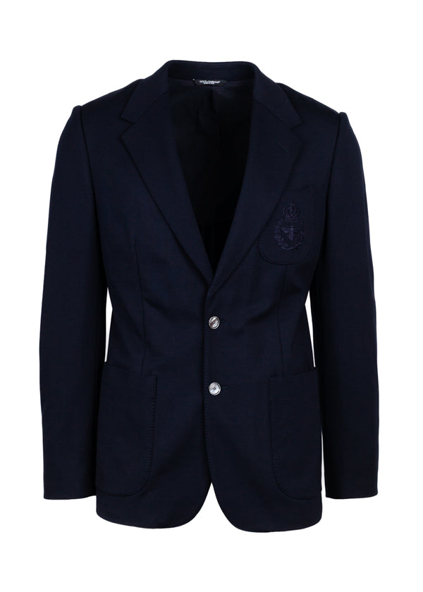 Dolce & Gabbana Mens Navy Embroidered Bee Crown Blazer - ACCESSX