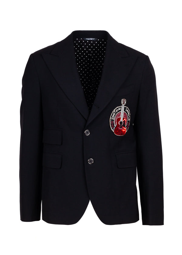 Dolce & Gabbana Mens Black Guitar Patch Blazer - ACCESSX