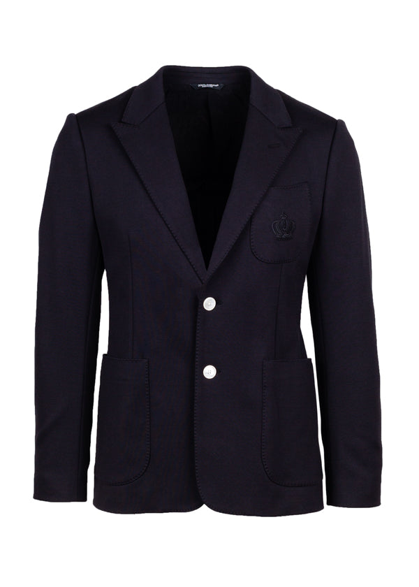 Dolce & Gabbana Mens Black Embroidered Crown Blazer - ACCESSX