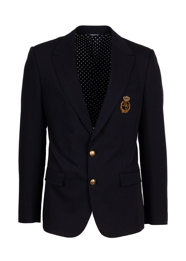 Dolce & Gabbana Mens Gold Crown Patch Blazer - ACCESSX