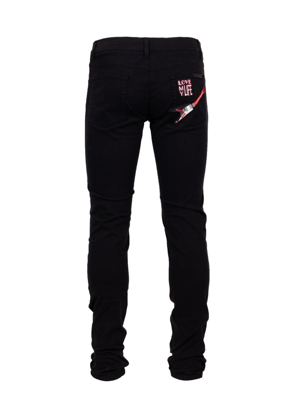 Dolce & Gabbana Mens Black Guitar Patch Classic Fit Jeans - Tribeca Fashion House