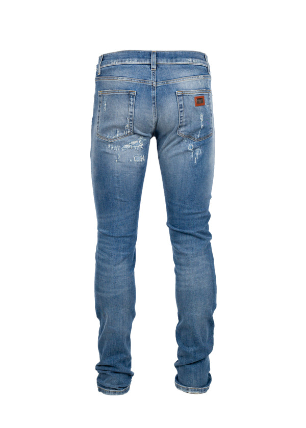 Dolce & Gabbana Mens Light Blue Distressed Classic Fit Jeans - Tribeca Fashion House
