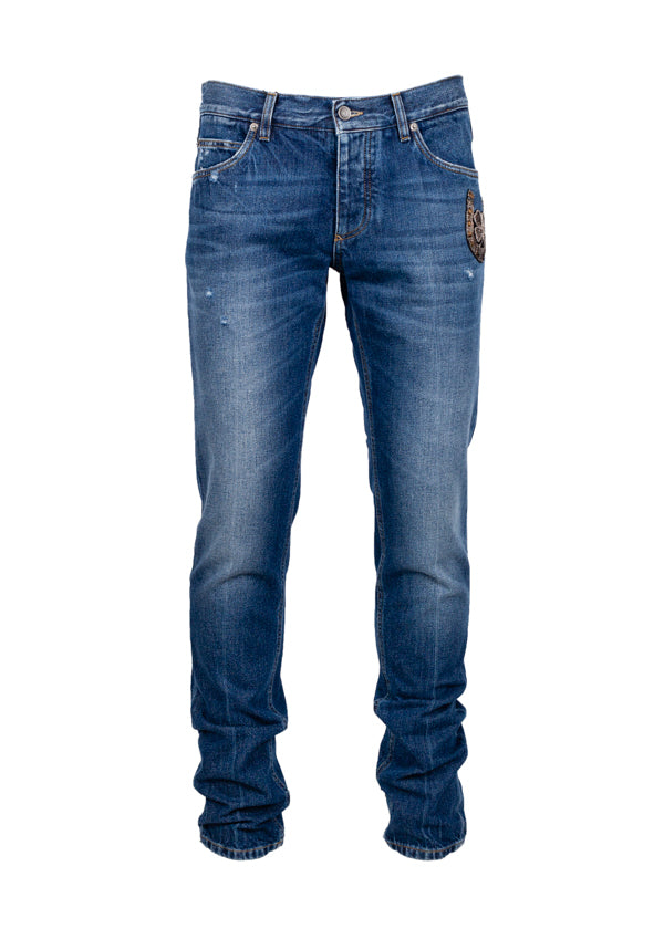 Dolce & Gabbana Mens Horseshoe Embroidered Jeans - ACCESSX