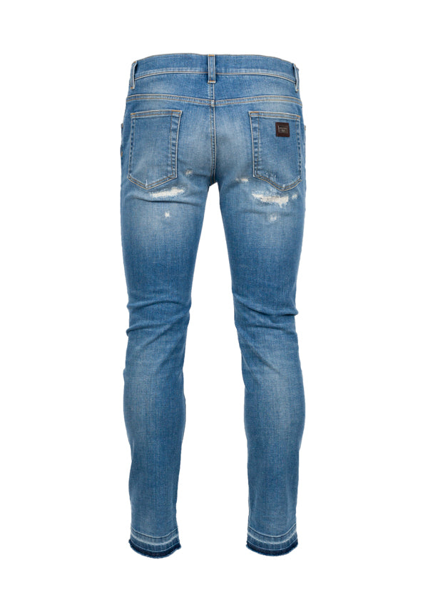 Dolce & Gabbana Mens Light Blue Distressed Selvage Jeans - Tribeca Fashion House