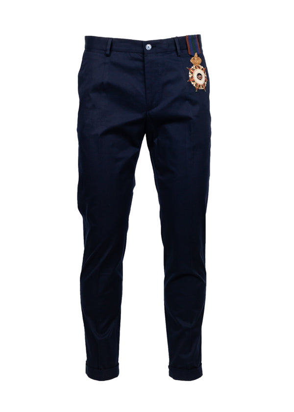 Dolce & Gabbana Mens Blue Embroidered Medallion Slim Fit Pants - Tribeca Fashion House