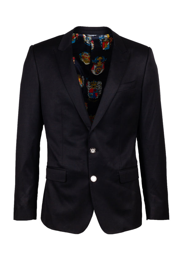 Dolce & Gabbana Mens Black Coat Of Arms Blazer - ACCESSX