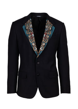 Dolce & Gabbana Mens Black Coat Of Arms Patterned Blazer - ACCESSX
